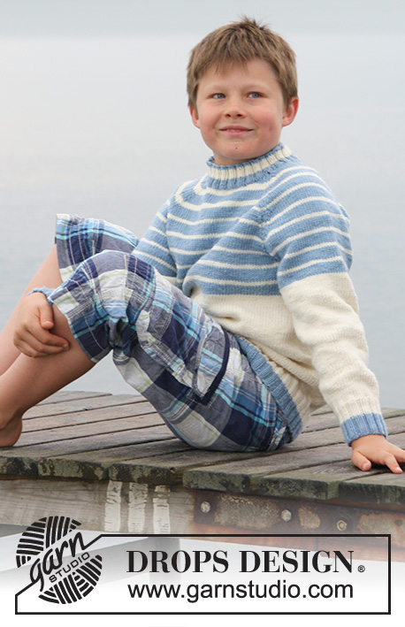 Water Stripes / DROPS Children 27-25 - Knitted jumper with raglan in DROPS Merino Extra Fine or Sky. 