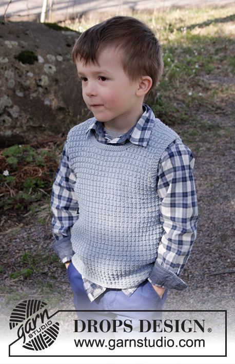 Vest is Best! / DROPS Children 27-26 - Knitted vest with textured pattern in DROPS Cotton Merino. Size children 2 - 12 years