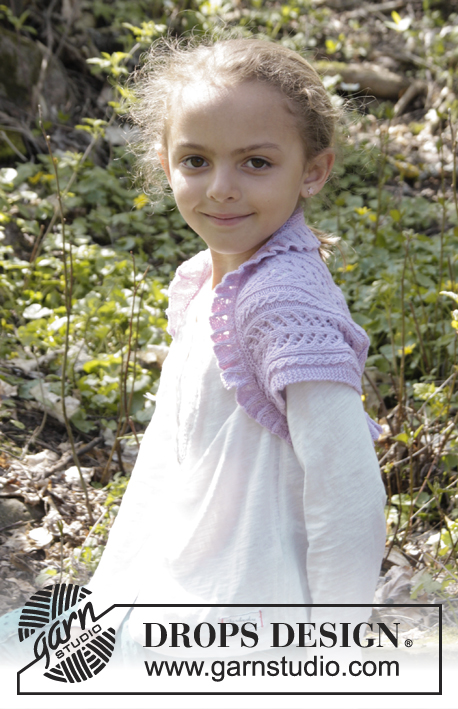 Leelanee / DROPS Children 27-27 - Knitted bolero with lace pattern and rib in DROPS BabyMerino. Size children 3 - 12 years.