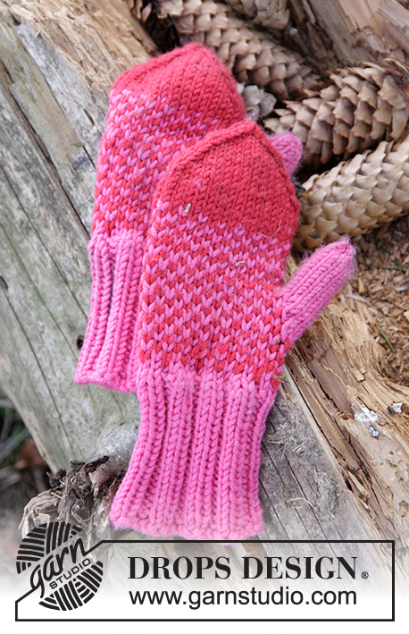Warmhearted Mittens / DROPS Children 27-3 - Knitted mittens with pattern in DROPS Merino Extra Fine. Size children 1 - 6 years.