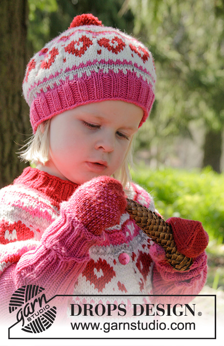 2107aa2cf0dbf Warmhearted Hat   DROPS Children 27-4 - Knitted hat with multi-coloured  pattern ...