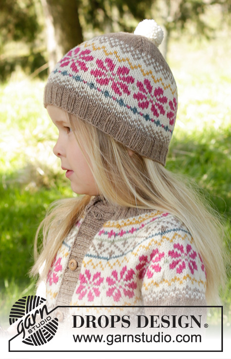 Prairie Fairy Hat / DROPS Children 27-6 - Knitted hat with Nordic pattern and pompom in DROPS Lima. Size children 3 - 12 years.