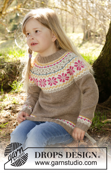 Prairie Fairy Jumper / DROPS Children 27-8 - Knitted jumper with round yoke and Nordic pattern in DROPS Lima. Size children 3-12 years.