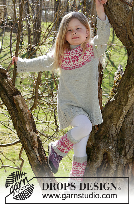 Forest Dance / DROPS Children 27-9 - Knitted dress with Nordic pattern in DROPS Karisma. Size children 3 - 12 years.