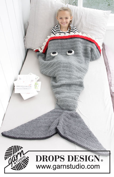 Shark Attack Blanket / DROPS Children 28-13 - Patrones de ganchillo ...