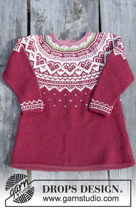 Visby Tunic / DROPS Children 30-11 - Set consists of: Tunic for kids with round yoke, multi-coloured Norwegian pattern and A-shape, knitted top down. Head band with multi-coloured Norwegian pattern. Size 2 - 12 years Set is knitted in DROPS Merino Extra Fine.