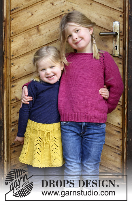 Cherry Cuddler / DROPS Children 30-14 - Jumper with raglan and cables, worked top down for kids. Size 2 - 12 years Piece is knitted in DROPS Merino Extra Fine.