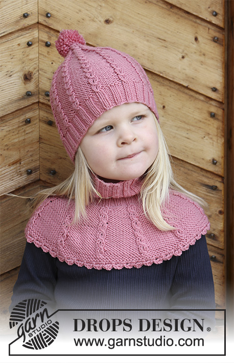 Lille Lisa / DROPS Children 30-15 - The set consists of: Children's knitted hat and neck warmer with small cables. Sizes 3 - 12 years. The set is worked in DROPS Merino Extra Fine.
