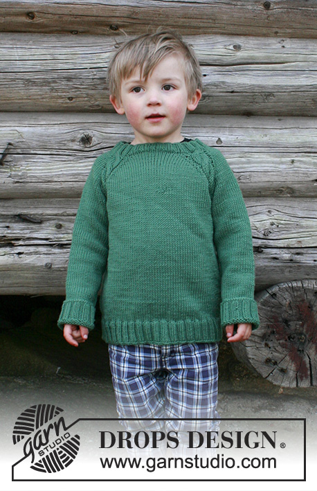 Le Petit Bûcheron / DROPS Children 30-2 - Jumper with raglan and cables, worked top down for kids. Size 2 - 12 years Piece is knitted in DROPS Merino Extra Fine.