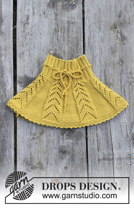 Sunny Hug / DROPS Children 30-20 - Children's skirt with lace pattern and crochet edge, worked top down. Sizes 2 - 12 years. The piece is worked in DROPS Merino Extra Fine.