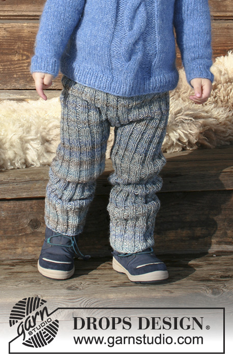 Winter Wolf / DROPS Children 30-22 - Children's knitted trousers with rib. Sizes 2 - 12 years. The piece is worked in 2 strands DROPS Fabel.