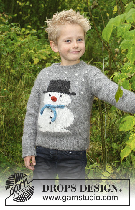 Frosty's Christmas Kids / DROPS Children 30-28 - Knitted jumper with snowman. For children sizes 2 – 12 years.