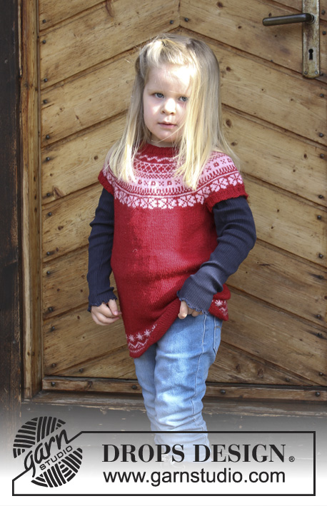 Lotta / DROPS Children 30-8 - Children's tunic with round yoke and multi-coloured Norwegian pattern, worked top down. Sizes 2 - 12 years. The piece is worked in DROPS BabyMerino.