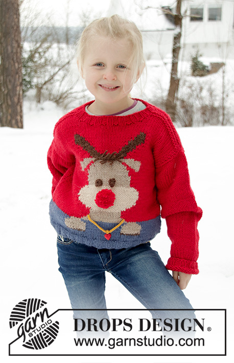 Red Nose Jumper Kids / DROPS Children 32-18 - Knitted sweater for children in DROPS Nepal. The piece is worked with a reindeer motif. Sizes 2 - 12 years. Theme: Christmas.