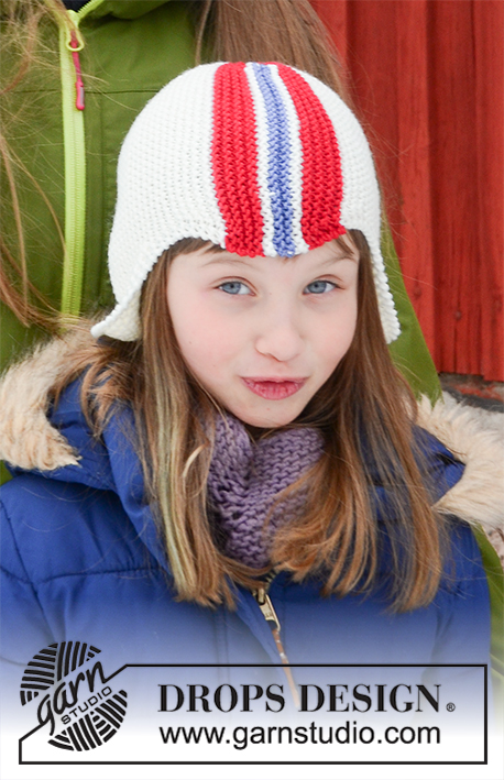 Ready to Cheer / DROPS Children 32-19 - Knitted hat with flag in DROPS Merino Extra Fine. The piece is worked sideways with garter stitch and stripes. Sizes 6 years, 10 years, M and L.