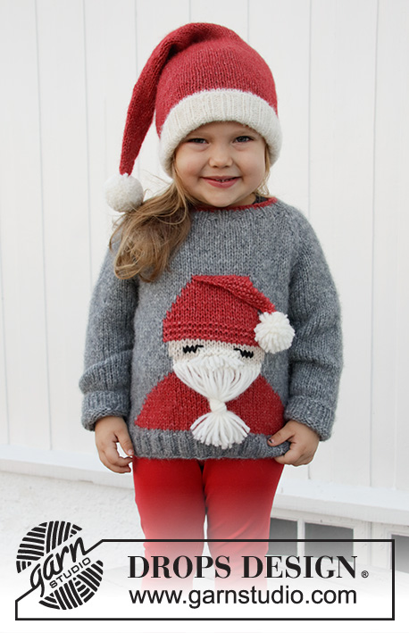 Sleepy Santa Sweater / DROPS Children 32-20 - Knitted jumper with Santa for children in DROPS Air or Nepal. Sizes 2 – 12 years. Theme: Christmas.