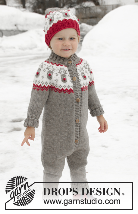 Run Run Rudolph / DROPS Children 32-3 - Knitted onesie for children, with round yoke in DROPS Merino Extra Fine. The piece is worked top down with Nordic pattern. Sizes 12 months – 6 years.