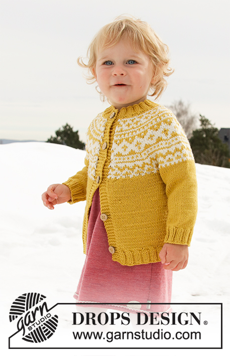 Little Missy Jacket / DROPS Children 32-8 - Knitted jacket for babies and children with round yoke in DROPS Lima. The piece is worked top down with Nordic pattern. Sizes 12 months – 12 years.