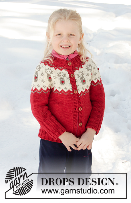 Little Red Nose Jacket / DROPS Children 32-9 - Knitted jacket for babies and children with round yoke in DROPS Merino Extra Fine. The piece is worked top down, with Nordic pattern. Sizes 12 months – 12 years.