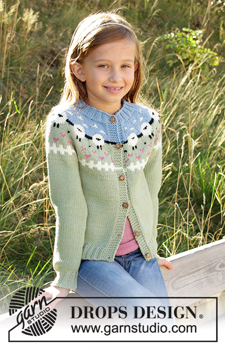 Lamb Dance / DROPS Children 34-1 - Knitted jacket for kids in DROPS Merino Extra Fine or DROPS Lima. Piece is knitted top down with sheep, colour pattern, ribs and stocking stitch. Size 3-12 years