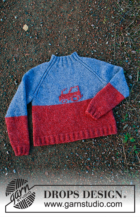 Tiny Trucker / DROPS Children 34-15 - Knitted jumper with raglan and embroidered tractor for children in DROPS Sky. Sizes 2-12 years.
