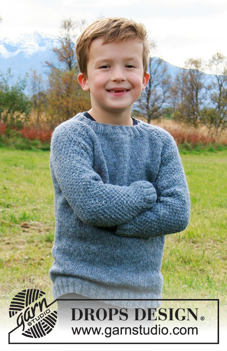 Blue August / DROPS Children 34-17 - Knitted sweater for children in DROPS Sky. The piece is worked top down with raglan and double moss stitch on sleeves. Sizes 2-12 years.