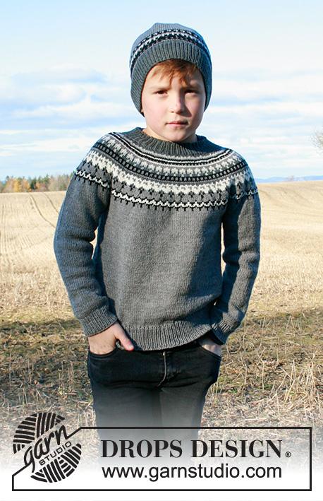Gestrickter Pullover mit Rundpasse und nordischem Muster in