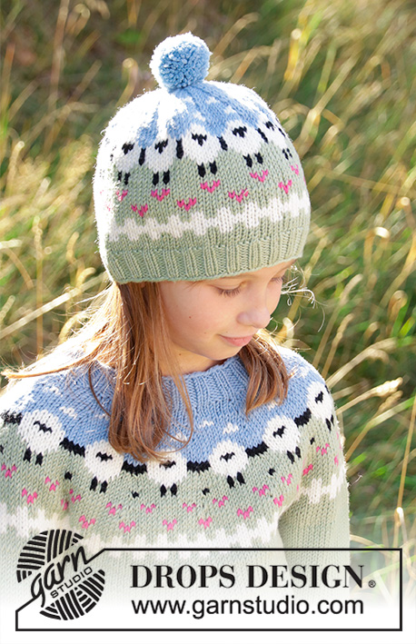 Lamb Dance Hat / DROPS Children 34-2 - Knitted hat for kids in DROPS Merino Extra Fine or DROPS Lima.