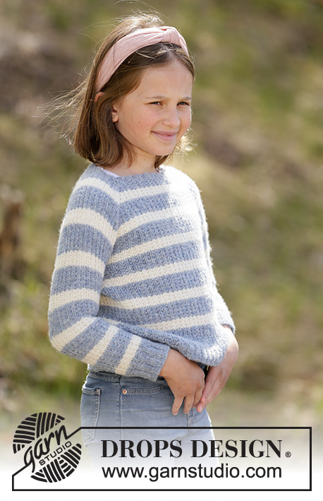 Sky Stripes Jumper / DROPS Children 34-21 - Knitted jumper with stripes for kids in DROPS Sky. Piece is knitted top down with raglan and textured pattern. Size 2-12 years