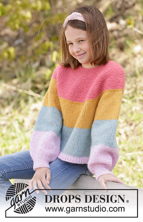 Candy Bar Jumper / DROPS Children 34-23 - Strikket genser til barn med striper i DROPS Air, Nepal eller Paris. Arbeidet strikkes rundt, ovenfra og ned med rundt bærestykke og raglan. Størrelse 1-10 år.