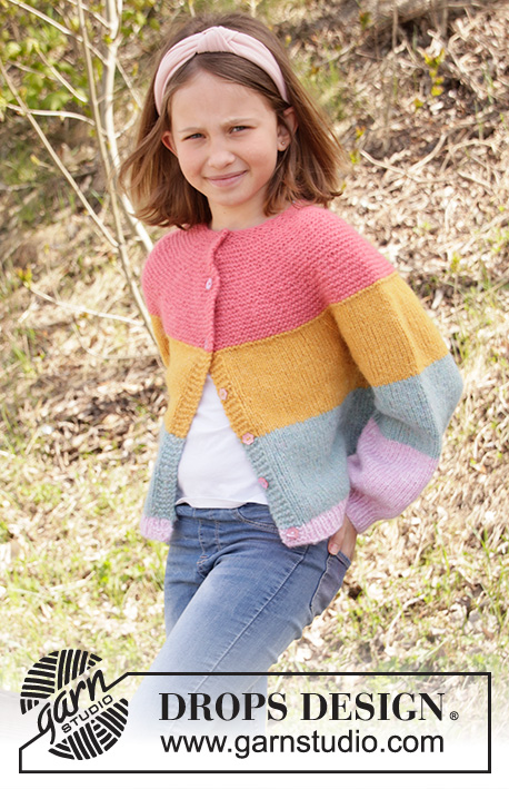 Candy Bar Jacket / DROPS Children 34-24 - Knitted jacket for children with stripes in DROPS Air, Nepal or Paris. The piece is worked top down with round yoke and raglan. Sizes 1-10 years.