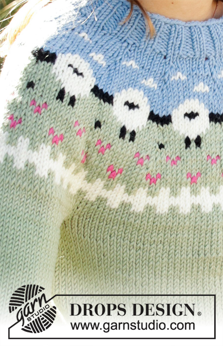 Lamb Dance Sweater / DROPS Children 34-3 - Knitted jumper for kids in DROPS Merino Extra Fine or DROPS Lima. Piece is knitted top down with sheep, colour pattern, ribs and stocking stitch. Size 3-12 years