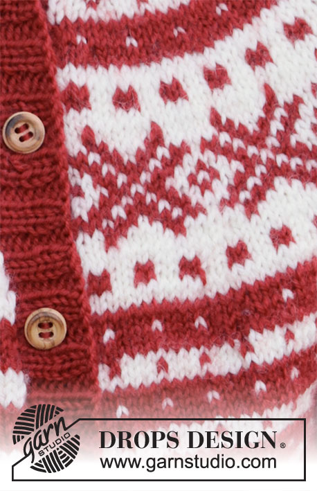 Candy Cane Lane Kids Jacket / DROPS Children 34-31 - Free knitting patterns by DROPS Design
