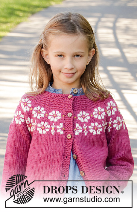 8cf44a6dc Daisy Delight Cardigan   DROPS Children 34-5 - Free knitting ...