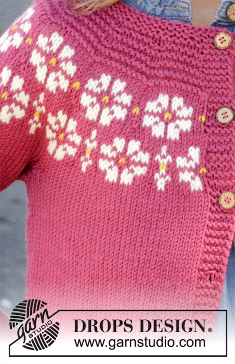 Daisy Delight Cardigan / DROPS Children 34-5 - Knitted jacket for children in DROPS Merino Extra Fine. DROPS Lima or DROPS Cotton Light. The piece is worked top down with flowers, coloured pattern, garter stitch and stocking stitch. Sizes 3-12 years.