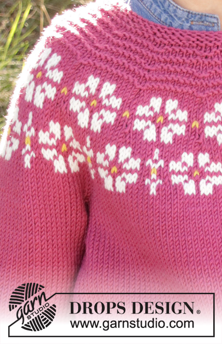 Daisy Delight / DROPS Children 34-7 - Knitted jumper for children in DROPS Merino Extra Fine, DROPS Lima and DROPS Cotton Light. The piece is worked top down with flowers, coloured pattern, garter stitch and stocking stitch. Sizes 3-12 years.