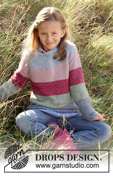Spring Lines / DROPS Children 34-8 - Knitted jumper for children in DROPS Sky. The piece is worked in the round, top down with stripes and raglan. Sizes 3-12 years.