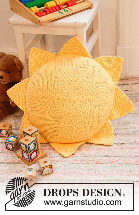 Sunny Nap Pillow / DROPS Children 35-3 - Knitted round pillow case in DROPS Paris. Knitted in a circle as a sun.