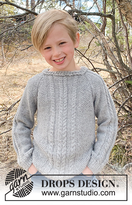 Cable Road / DROPS Children 37-10 - Knitted sweater for children with cables and raglan in 2 strands DROPS Alpaca. Size 3-12 years