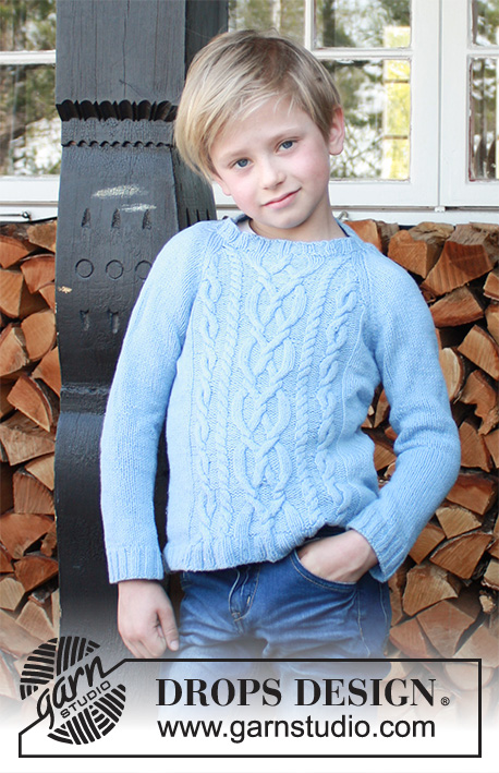 Winter Clouds / DROPS Children 37-12 - Knitted sweater for kids with raglan and cables in DROPS Karisma or DROPS Lima. Size 5-14 years