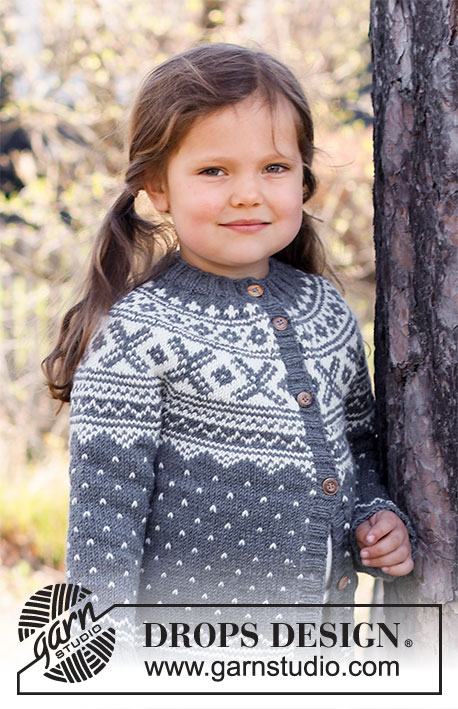 North Star Jacket / DROPS Children 37-2 - Knitted jacket for children in DROPS Karisma. The piece is worked top down with round yoke and Nordic pattern. Sizes 2 – 12 years.