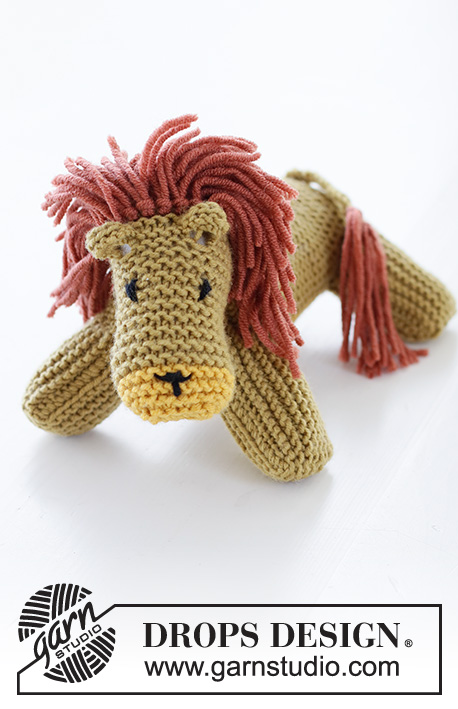 Kimba the Lion / DROPS Children 37-20 - Knitted lion in garter stitch in DROPS Merino Extra Fine.