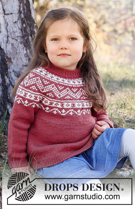 Lillesand Jumper / DROPS Children 37-5 - Knitted jumper for children in DROPS Karisma. The piece is worked top down, with round yoke and Nordic pattern. Sizes 2 – 12 years.