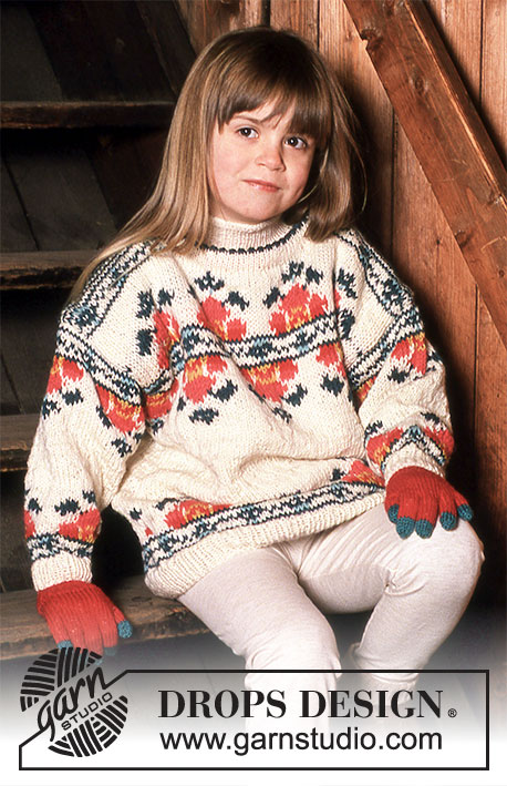 DROPS Children 6-5 - Pullover in Karisma with Russian Roses and Gloves in Camelia