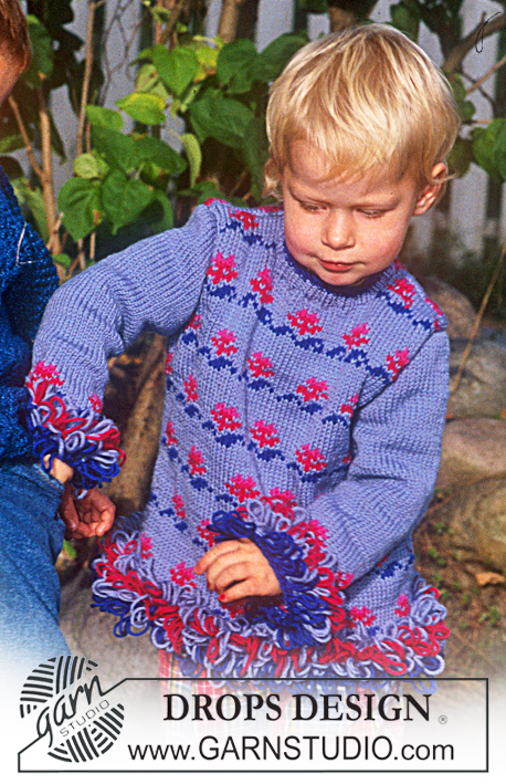 DROPS Children 9-3 - Jersey in Karisma Superwash with flower borders and loop stitches