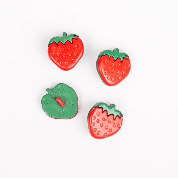 Red Blue Pink Yellow Orange 5 Strawberry Buttons