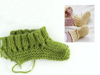How to knit booties in Baby DROPS 21-1