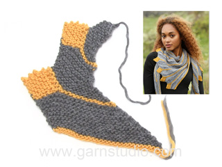 2fb0b4c53e5 How to knit the shawl in garter stitch with leaves - sideways in DROPS  173-19 (Tutorial Video)